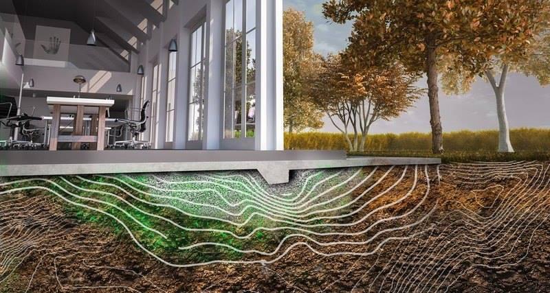 Земля, покрытая толстым слоем бактериального бетона